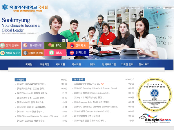 Screenshot of the Office of International Affair site